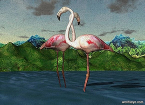 a 180 inch tall lake.a  forest is in the background.ground is 250 feet tall.a 1st 950 inch tall flamingo is -200 inch above the lake.a 2nd 900 inch tall flamingo is -30 inch in front of the 1st flamingo.the 2nd flamingo is facing northwest.the 1st flamingo is facing east.