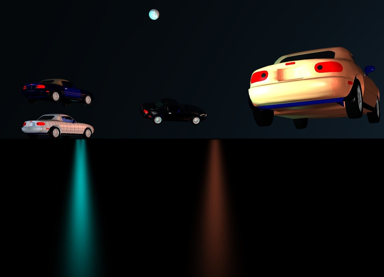 Input text: a car. 1st car is -9 feet above the car. 2 cobalt blue lights are -2.9 feet above the car. car is [wood]. car is [metal]. the ground is shiny black. 2 cyan lights are -1 feet above and -2 feet to the front of the car. 2nd silver car is 6 feet in front of and -1.5 feet above and -.3 feet left of the car. car faces southwest. car leans 22 degrees to the right. car is silver. car is shiny silver. car is shiny metal. the sky is shiny black. a copper light is -1 feet above and 1 feet left of the car. huge coral car is -1 feet in front of and 1 feet left of the car. car leans 4 degrees to the left. the sun ' s azimuth is 40 degrees. the sun ' s altitude is 14 degrees. the sun is pond blue. a 2 feet tall moon is 1 feet behind and 13 feet right of and 3.9 feet above the car.