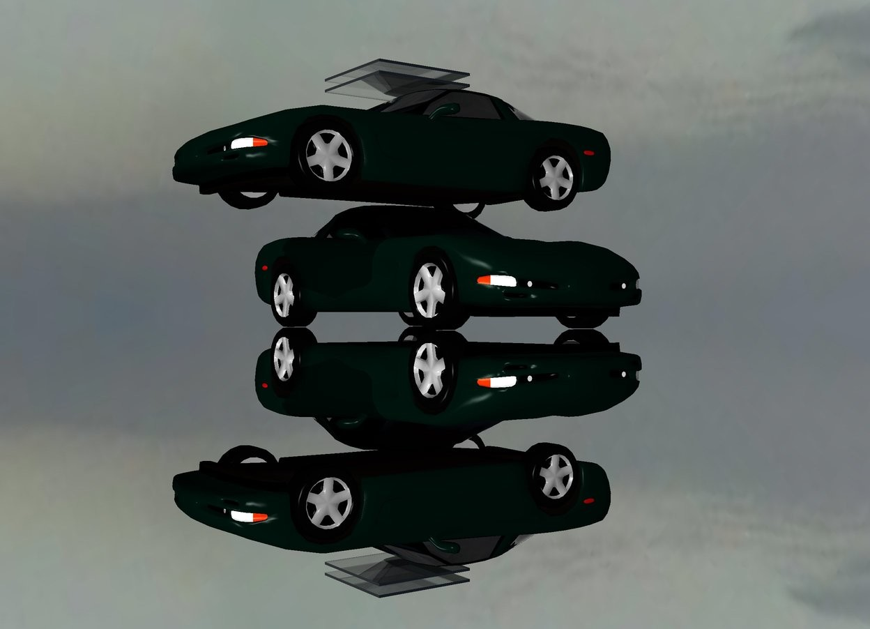 Input text: 9 blue lights are above the car 9 red lights are in front of the car. the ground is silver. The car fits on the car. car is facing left. the 4 foot deep clear plank is 5 inches above the car. it is 4 feet wide. the second 4 foot deep clear plank is above the car . it is 4 feet wide.