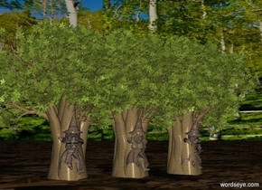 ground is 500 feet tall.ground is 200 inch wide [leaf].sky is 1000 feet tall. sky is 8000 inch wide [forest]..a 1st 50 inch tall baobab tree.a 2nd 50 inch tall baobab tree is -40 inch left of the 1st baobab tree.a 3rd 50 inch tall baobab tree is -40 inch right of the 1st baobab tree.a 1st 20 inch tall wood witch is -52 inch above the 1st baobab tree.the 1st witch is -30 inch in front of the 1st baobab tree.the 1st witch leans 30 degrees to the front. a 2nd 20 inch tall wood witch is -52 inch above the 2nd baobab tree.the 2nd witch is -30 inch in front of the 2nd baobab tree.the 2nd witch leans 30 degrees to the front. a 3rd 20 inch tall wood witch is -52 inch above the 3rd baobab tree.the 3rd witch is -32 inch in front of the 3rd baobab tree.the 3rd witch leans 40 degrees to the front.