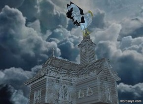 a 400 inch tall church is 100 inch above the ground..the church is 50 inch wide [stone].sky is 1000 feet tall. sky is 20000 inch wide [cloud].ground is clear.a 140 inch tall gold cock is -115 inch above the church.the cock is -95 inch left of the church.camera light  is  forget me not blue.
