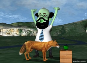 There is a green professor. The professor's hair is black. The professor's beard is black. The professor's mustache is black. The professor's shirt is white. A large fox is in front of the professor. A [wood] cube is to the right of the fox. The fox faces the cube. A green apple is above the cube.