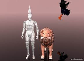 a shiny [silver] crash dummy. a shiny [silver] cone is -1 inch above the crash dummy. the sky is rosy brown. the ground is clear. a shiny terracotta lion is to the right of and -5 feet in front of the crash dummy.  a witch is above and 8 feet behind and to the right of the lion. she faces northeast.  her shirt is black. her skin is green.
