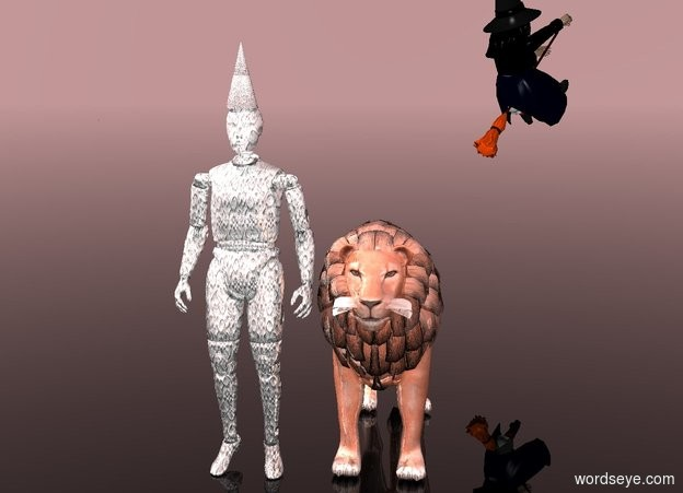 Input text: a shiny [silver] crash dummy. a shiny [silver] cone is -1 inch above the crash dummy. the sky is rosy brown. the ground is clear. a shiny terracotta lion is to the right of and -5 feet in front of the crash dummy.  a witch is above and 8 feet behind and to the right of the lion. she faces northeast.  her shirt is black. her skin is green.