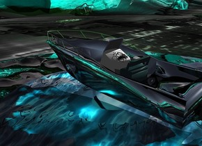 An island is on a large dark clear island. The island is 30 feet wide [water]. The ground is [water]. A huge shiny black boat is on the island. Camera light is black. 4 cyan lights are right of the boat. The sun is silver. A green light is above the boat. The altitude of the sun is 30 degrees.