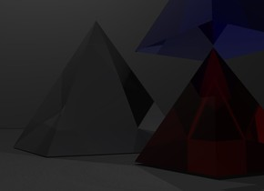 1st big transparent pyramid. Sky is black. Ground is dark grey. There is a light 100 feet above pyramid. 2nd red transparent pyramid is 1 feet right of the 1st pyramid. there is a white light inside 2nd pyramid. 3rd transparent blue pyramid is above 2nd pyramid.