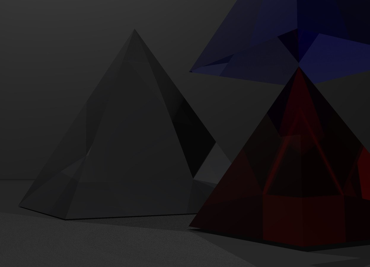 Input text: 1st big transparent pyramid. Sky is black. Ground is dark grey. There is a light 100 feet above pyramid. 2nd red transparent pyramid is 1 feet right of the 1st pyramid. there is a white light inside 2nd pyramid. 3rd transparent blue pyramid is above 2nd pyramid.