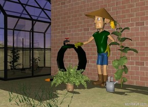 a item.a 1st 12 feet tall wall is behind the item.a greenhouse is left of the 1st wall.the ground is grass.a man is right of the item.a 2nd 12 feet tall wall is right of the 1st wall.a watering can is right of the man.the watering can is in front of the man.a cherry tomato is -5 feet in front of the greenhouse.a chili pepper is 1 feet behind the cherry tomato.a 5 feet tall pitchfork is 1 feet in front of the item.the pitchfork is 8 inches in the ground.a potted plant is 4 inches in front of the man.a sunflower is 5 inches behind the watering can.a 1st 1 feet tall grass is 1 feet in front of the potted plant.a 2nd 1 feet tall grass is right of the 1st grass.