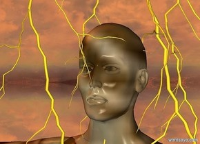 a woman.the woman is dirt.a 1st lightning bolt is -14 inches above the woman.the lightning bolt is in front of the woman.a 2nd lightning bolt is right of the 1st lightning bolt.a 3rd lightning bolt is behind the 2nd lightning bolt.a 4th lightning bolt is behind the 1st lightning bolt.the sun is old gold.silver ground.