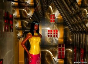 a dull [pattern] building. the building's roof is tangerine. a 10 foot tall woman is -45 feet above the building. she faces northeast. her hair is black. her eyeball is black. her shirt is shiny gold. her skirt is shiny gold.