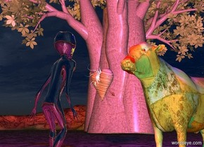 The silver alien is 2 feet to the left of the Klee cow. He is facing the cow. The cow is facing the alien. The large baobab tree is behind and to the right of the alien.  The wood heart is 4 feet behind and 6 feet to the right of the alien. It is facing left. It is 3 feet above the ground.  The wood arrow is -2 feet above the heart. It is leaning 40 degrees to the front.  The small sun symbol is -3 inches to the left of the heart. It is facing left. It is 5 inches above the bottom of the heart. The red light is 2 feet above the alien. The blue light is 3 feet above the cow. The sun is black.