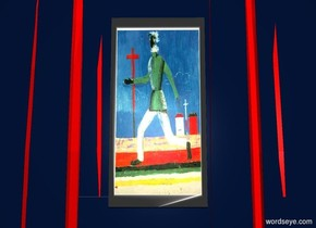 a 6 foot tall and 3 foot wide [malevich] 1 foot deep painting is -.3 foot above a 1st 3 foot tall and 20 foot wide ink blue wall. a 2nd 6 foot tall ink blue wall is -.1 foot to the left of the painting. a 3rd 6 foot tall ink blue wall is -.1 foot to the right of the painting. a 4th ink blue wall is -.1 foot above the painting. a 1st 9 foot tall and 9 foot wide red curtain is -7 feet above the painting. the sky is black. the ground is clear.  the camera light is dim.a linen light is 10 feet in front of and -3 feet above the painting.