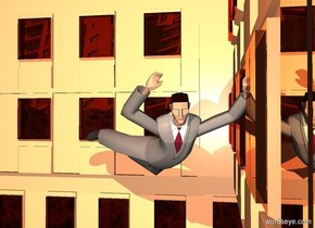 a 8 foot tall 50% camel building. a 1 foot tall business man is -4 feet above  and -2 feet to the right of the building. the man's suit is gray. the man's necktie is bordeaux wine mauve. a dim peach light is above the man. a camel light is in front of the man. he leans 70 degrees to the front. the sky is 2000 foot wide [city]. the ground is clear.