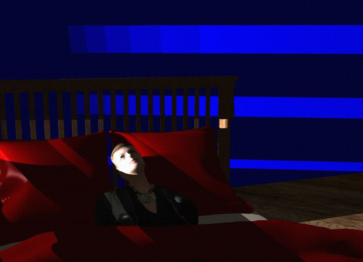 Input text: a 10 foot tall and 5 foot wide and 20 foot deep structure. a 20 foot tall and 60 foot wide blue wall is behind the structure. a bed is 1 foot to the right of the structure. the camera light is black. 6 baby blue lights are 25 foot to the left of and -5 feet above and -3 feet to the left of the structure. a person leans 65 degrees to the back. she is -4.3 feet above the bed. the ground is 10 foot wide wood. the bed's blanket is maroon. the bed's pillow is maroon.