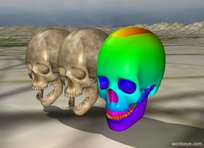 rainbow skull and bones  in jungle