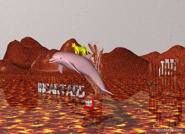 Input text: A dolphin is above guitar. The dolphin is pink. The sky is metal. The ground is fire. A cat sits on the dolphin. The cat is yellow. A mouse sits on the guitar. The guitar is red. The mouse is big. A window is behind the guitar. The window is 15 feet behind the guitar. The window is silver. There is a hand. The hand is 7 feet tall. The hand is silver.  There is text INCARTA95