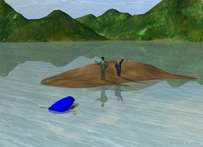 sand dune.a 1st man is -47 inches above the sand dune.a 2nd man is 4 feet in front of the 1st man.the 2nd man is left of the 1st man.a upside down boat is 10 feet in front of the sand dune.the boat is leaning 12 degrees to the south.the boat is 10 inches in the ground.