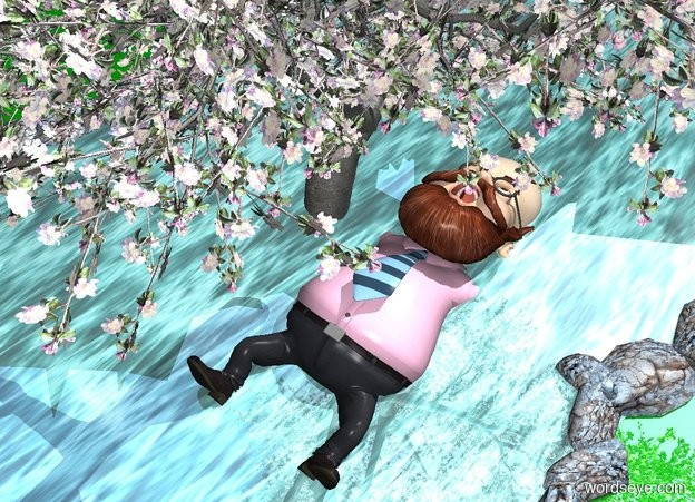 Input text: The ground is reflective green. There is a river. The water of the river is clear shiny cyan. A large matte person is 30 inches in the river. The person leans 90 degrees to the back. A marble is to the right of the river. The person is facing the marble. A tree is 1 inches in the person.