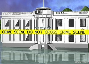 "a 30 foot wide and 1.5 foot tall and .1 inch deep yellow stick. it is 5 feet above the ground. a 32 foot wide white house is behind the stick. the white house is on the ground. a .9 foot tall black ""CRIME SCENE DO NOT CROSS CRIME SCENE"" is in front of and -1.25 feet above the stick."