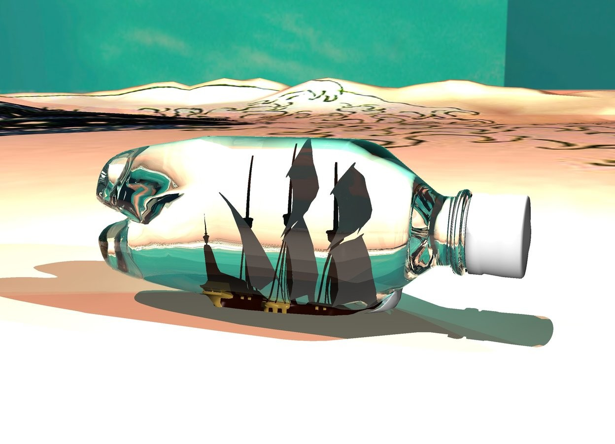 Input text: 1st clear white bottle on ground. it is facing up. it is 10 feet tall. it is 20 feet long. 1st ship 5 feet in bottle. it is 4.5 feet tall. it is facing right. white light 0.2 feet to right of ship. the white light is 10 feet above ground. 1 white light 1 foot above bottle. ground is water. it is afternoon. sun is peach. 1st cyan light is behind bottle. 2nd cyan light next to 1st cyan light. sky is [blue]