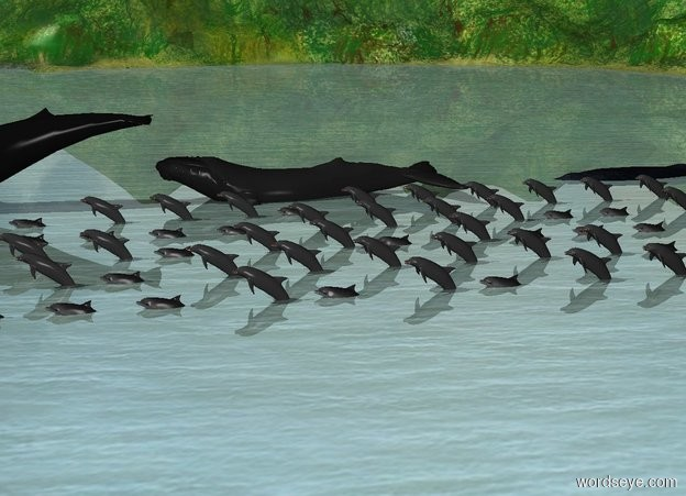 Input text:   There are 10 dolphins facing west. They lean 20 degrees to the back. They are -2.5 feet above the ground.   There are 11 dolphins 5 feet to the north of them. They face west. They lean 20 degrees to the back.  There are 12 dolphins 5 feet to the north of them. They face west. They lean 20 degrees to the back.  There are 13 dolphins 5 feet to the north of them. They face west. They lean 20 degrees to the back.  There are 14 dolphins 5 feet to the north of them. They face west. They lean 20 degrees to the back.  5 whales are north of them. They face west. They are -7 feet above the ground.