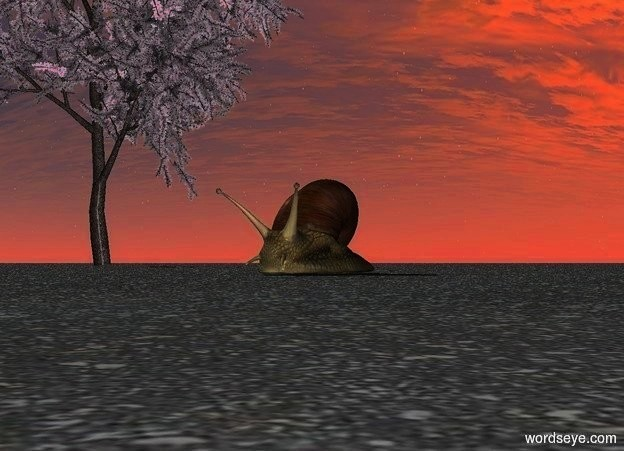 Input text: A very giant snail. Ground is asphalt. There is a plant 2 feet behind snail. Plant is 7 feet left of the snail. There is a plant under snail.