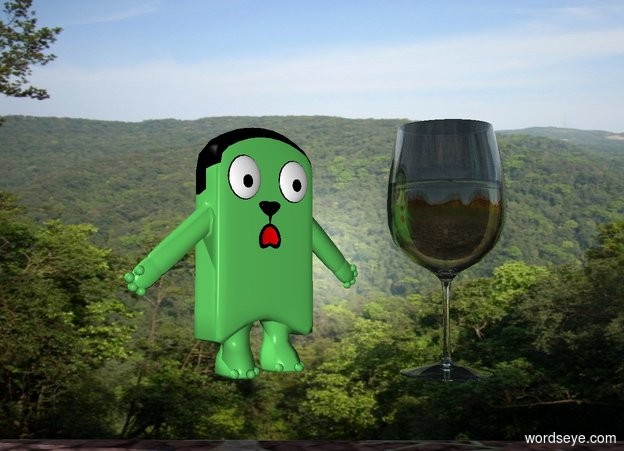 Input text: the 4 foot tall wine glass is 3 feet in front of the [canada] wall. the wall is 10 feet tall and 20 feet wide. the glass is 2 feet above the ground. the cartoon is next to the glass. cartoon is facing the southeast. the cartoon is 4 feet tall.