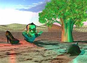 the large man.  the 12 foot tall tree is right of the man. the huge matisse shoe is next to the man. it is facing southeast. the ground is sand. the gray dolphin is two feet in front of the man. it is in the ground. it is facing southwest. it is right of the man.  the cyan light is above the dolphin. a red light is above the shoe.  the camera light is green.