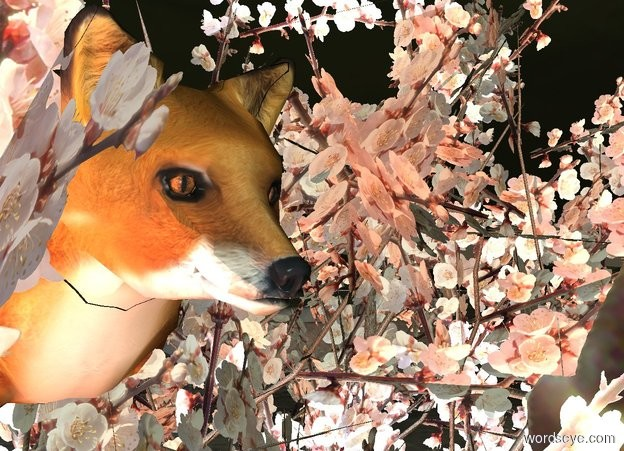 Input text: it is evening. the fox is 3 feet in the reflective apricot tree. The peach light is below the fox. The pale blue light is to the left of the fox.