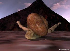a giant snail. a swimmer is -20 inches in front of the snail. the swimmer is 25 inches in the ground. the sun is pink. it is morning. a rock is in front of the swimmer. the rock is huge. the sun is grey.