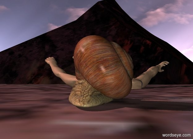 Input text: a giant snail. a swimmer is -20 inches in front of the snail. the swimmer is 25 inches in the ground. the sun is pink. it is morning. a rock is in front of the swimmer. the rock is huge. the sun is grey.