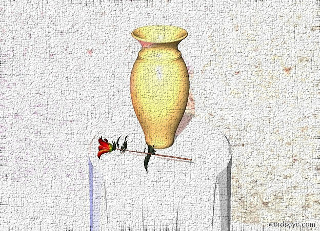 Input text: a table.a vase is on the table.a flat wall is behind the table.the sun's azimuth is 175 degrees.the wall is texture.the ground is snow.a 80% blue light is 1 feet left of the table.a 1.5 feet tall rose is in front of the vase.the rose is face up.the rose is facing right.a 75% rust light is left of the vase.