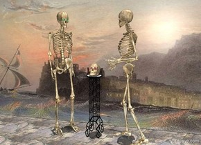 a 3 feet tall table.a skull is -4 inches above the table.the skull is face up.the skull is leaning 45 degrees to the south.the skull's eye is red.a 1st skeleton is right of the table.the 1st skeleton is facing the table.a 2nd skeleton is left of the table.the 2nd skeleton is facing southeast.the 2nd skeleton's eye is green.a wall is 12 inches behind the table.the sun's altitude is 90 degrees.the wall is [castle].the ground is rock.