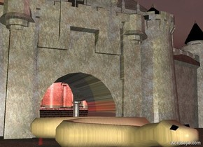 A castle. The castle is stone. In front of the castle is a purple light. Under the castle is a humongous snake.  It is morning. The sun is dark brown. Behind the castle is a large red light.  In front of the snake is a dark yellow light. To the right of the castle is a dark purple light. To the left of the castle is a dark yellow light. The snake is stone.