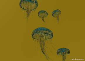 1st jellyfish is 5 feet above the texture Ground. The sky is gold.  The jellyfish is  Clear. The 2nd jellyfish Is large. It is clear.  2nd jellyfish  Is left of 1st jellyfish. It faces the right.  3rd clear jellyfish Above the 2nd jellyfish.  It faces the right.  4th clear jellyfish Right of the 3rd jellyfish. It is leaning right.  5th clear jellyfish Left of the 3rd jellyfish.  It is 1 foot wide.
