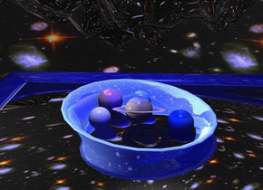a large shiny blue dresser faces left. it leans 90 degrees to the front.  a large  shiny forget me not blue bowl is -1.9 foot above and -3.5 foot in front of and 5.5 foot  to the right of the dresser. it leans 5 degrees to the right. a 1st 3 inch tall planet is -.3 foot above the bowl. it leans to the front. a 2nd 3  inch tall planet is -1 inch to the right of and -1 inch in front of the 1st planet. a 3rd 2.5 inch tall planet is in front of the 1st planet. the sky is 1400 foot tall [sky]. the camera light is black. a tiny blue light is 1 inch above the 1st planet. a 2.5 inch tall white moon is to the right of the 1st planet. a extremely tiny ghost white light is 25 foot above the 2nd planet. the ground is silver. a 4th 3 inch tall planet is to the left of and -5.5 inch above the 1st planet. the sun's altitude is 10 degrees. the sun's azimuth is 90 degrees. ambient light is midnight blue.