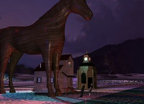 The ground is 100 feet wide glass. It is 100 feet high. A huge 30% dark wooden horse is next to a small dark shiny building. A small man is 5 feet in front of and 3 feet left of the building. He is facing the horse. He is leaning 15 degrees to the back. A small shiny woman is in front of and right of the man. She is facing the horse. She is leaning 15 degrees to the back. A red light is behind the woman. A cyan light is behind and above the building. The sun is purple. A red light is above and behind the horse. A dark building is 15 feet right of the building. A navy light is 200 feet left of the building. Camera light is cream. A navy light is on the horse.