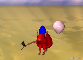 The ground is gold.  There is a giant rat five feet off the ground.  There is a gun next to the rat.  There is a helmet on top of the rat.  The helmet is blue.  There is a pink balloon to the right of the rat.  The rat is light red.