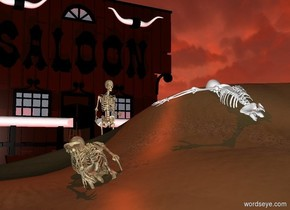 a sand dune.a 1st skeleton is -7.5 feet above the sand dune.the 1st skeleton is facing left.the 1st skeleton is face up.the skeleton is leaning 30 degrees to the north.a 2nd skeleton is 1 feet in front of the 1st skeleton.the 2nd skeleton is face up.the 2nd skeleton is -8 feet above the sand dune.the second skeleton is facing left.the 2nd skeleton is leaning 20 degrees to the north.a saloon is left of the sand dune.the saloon is facing right.a 3rd skeleton is 6 inches right of the saloon.the skeleton is facing right.the sun is rust.a red light is right of the saloon.