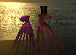 a 1st 40% dark purple octopus faces right. it leans 10 degrees to the front. a 2nd 40% dark pink octopus is -.7 feet to the right of the 1st octopus. it faces left. it leans 20 degrees to the front. the ground is clear. the sky is [sea]. a small  top hat is -.25 foot above and -1.1 feet to the left of the 2nd octopus. the camera light is old gold. 2 linen lights are 20 feet above the 1st octopus. the ambient light is sea mist blue.
