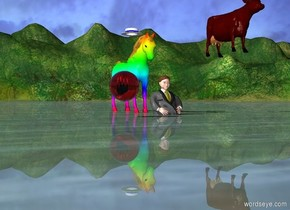 A hat is 6 inches above a rainbow horse. A man is one foot in front of the horse. A cow is 4 feet to the right from the man. The cow is 5 feet above the ground. A very large red ball is 6 feet in front of the man. The ball is 2 feet to the left from the man. The ball is a foot above the ground. The man is 3 feet in the ground.