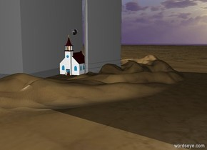 There is a church in the desert. There is an enormous silver sphere above the church. There is a grey skyscraper on the right of the church. There is a grey skyscraper on the left of the church. There are three people in front of the church.