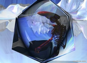 a clear 10 feet tall icosahedron.a skeleton is -9 feet above the icosahedron.a red light is 2 inches above the skeleton.shiny ground.[abstract]sky.the ground is 130 feet tall.a blue light is in front of the skeleton.