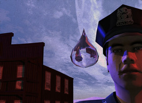 A large clear drop is 2 feet above the ground. The ground is shiny dark white. A large man is -8 feet above the ground and 6 inch behind the drop. Camera light is black. A red light is right of and above the man. The sun is pink. A large dark building is 40 feet behind and 30 feet left of the man. 4 blue lights are in front of and above and left of the building.