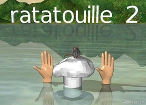 "a big hat is on the ground.  a big hand is on the ground to the left of the hat.  another big hand is on the ground to the right of the hat.  a grey rat  is on top of the hat.  small ""ratatouille 2"" is 1 foot above the rat."