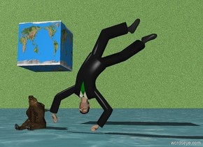 A man is upside down. A pig is facing up. The pig is 3 feet in the ground. The pig is two feet behind the man. The pig is a foot to the left from the man. The ground is the Water. The sky is grass. A huge cube is 5 feet behind the man. The cube is 7 feet behind the man. The cube is 2 feet to the left from the man. The cube is 5 feet above the ground. The cube is earth.