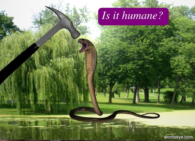 Input text:  the [park] wall is 10 feet tall and 15 feet wide.  the cobra is one foot in front of the wall. it is facing southwest. it is three feet above the ground.  the 5 foot tall hammer is -1 feet to the left of the snake. it is leaning 50 degrees to the left. it is 4 feet above the ground.