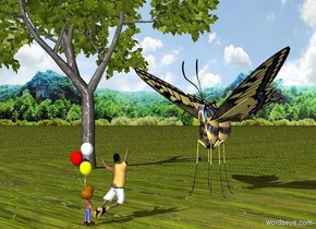 the ground is grass. the background is forest. a 1st  very little boy is facing to a very huge butterfly. the butterfly is facing to the boy. the boy is 2 feet away from the butterfly. the butterfly is 3 feet high. 2nd very little boy is next to the 1st boy. he is facing to the butterfly. a very small tree is behind the butterfly
