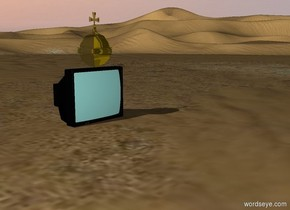 A huge gold orb is on top of the television. The banana is 23 feet to the left of the television. It is raining