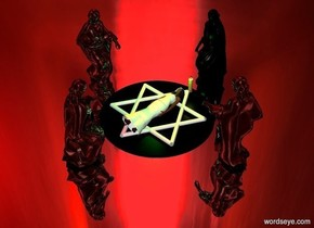 a 8.2 feet wide black circle.a 7 feet tall star of david is above the circle.the star of david is face up.a white woman is -5 inches above the star of david.the woman is face up.a 1.5 feet tall candle is behind the star of david.the candle is on the ground.a 1st black statue is behind the candle.a 2nd shiny black statue is in front of the circle.the 2nd statue is facing north.a 3rd shiny black statue is left of the circle.the 3rd statue is facing right.a 4th shiny black statue is right of the circle.the 4th statue is facing  left.three green lights are 1 feet above the woman.silver ground.the sky is [horror].the sun is red.a yellow-green light is above the candle.